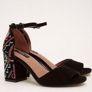 Torrid black neon beaded embellished block heels